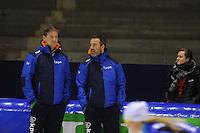 SCHAATSEN: HEERENVEEN: 11-12-2014, IJsstadion Thialf, International Speedskating training, Jan van Veen, Peter Kolder, ©foto Martin de Jong