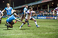 Picture by Allan McKenzie/SWpix.com - 09/02/2018 - Rugby League - Betfred Super League - Wakefield Trinity v Salford Red Devils - The Mobile Rocket Stadium, Wakefield, England - Robert Lui is unable to prevent Scott Grix from scoring a try.