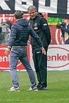 14.04.2019, Merkur Spielarena, Duesseldorf , GER, 1. FBL,  Fortuna Duesseldorf vs. FC Bayern Muenchen,<br />  <br /> DFL regulations prohibit any use of photographs as image sequences and/or quasi-video<br /> <br /> im Bild / picture shows: <br /> nach dem Spiel erklaert Niko Kovač Trainer / Headcoach (Bayern Muenchen), Friedhelm Funkel Trainer / Headcoach (Fortuna Duesseldorf), etwas <br /> <br /> Foto © nordphoto / Meuter