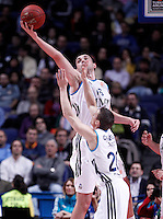 Real Madrid's Mirza Begic (b) and Jaycee Carroll during Euroleague 2012/2013 match.December 13,2012. (ALTERPHOTOS/Acero) /NortePhoto