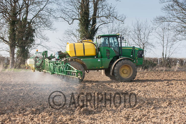 Spraying Glyphosate on to ploughed land before drilling Spring Barley<br /> Picture Tim Scrivener 07850 303986