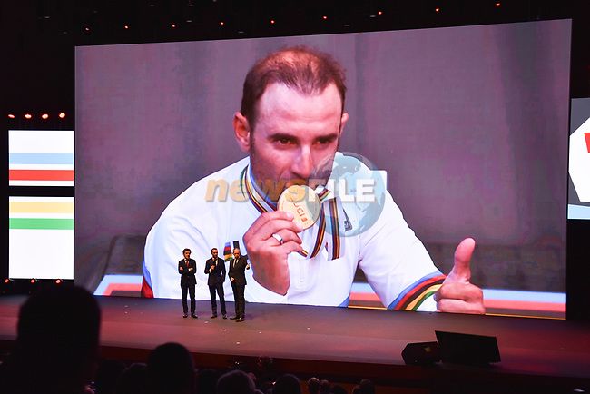 World Champion Alejandro Valverde (ESP) on stage at the official route launch for La Vuelta 19 held in the ADDA auditorium in Alicante. The 74th edition of the Spanish race will take place between August 24th and September 15th 2019, setting out from Salinas de Torrevieja and ending in Madrid. 19th December 2018.<br /> Picture: Unipublic/Antonio Baixauli | Cyclefile<br /> <br /> <br /> All photos usage must carry mandatory copyright credit (© Cyclefile | Unipublic/Antonio Baixauli)