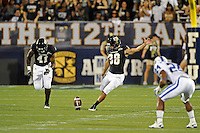 1 October 2011:  FIU kicker Jack Griffin (38) kicks off in the first quarter as the Duke University Blue Devils defeated the FIU Golden Panthers, 31-27, at FIU Stadium in Miami, Florida.