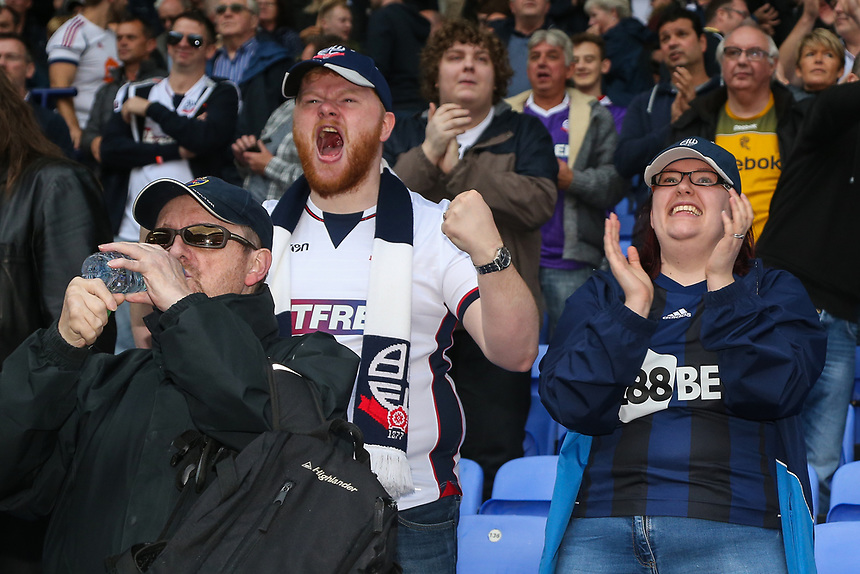Bolton Wanderers' supporters celebrate their side's 2-1 victory against Sheffield Wednesday<br /> <br /> Photographer Andrew Kearns/CameraSport<br /> <br /> The EFL Sky Bet Championship - Bolton Wanderers v Sheffield Wednesday - Saturday 14th October 2017 - Macron Stadium - Bolton<br /> <br /> World Copyright &copy; 2017 CameraSport. All rights reserved. 43 Linden Ave. Countesthorpe. Leicester. England. LE8 5PG - Tel: +44 (0) 116 277 4147 - admin@camerasport.com - www.camerasport.com