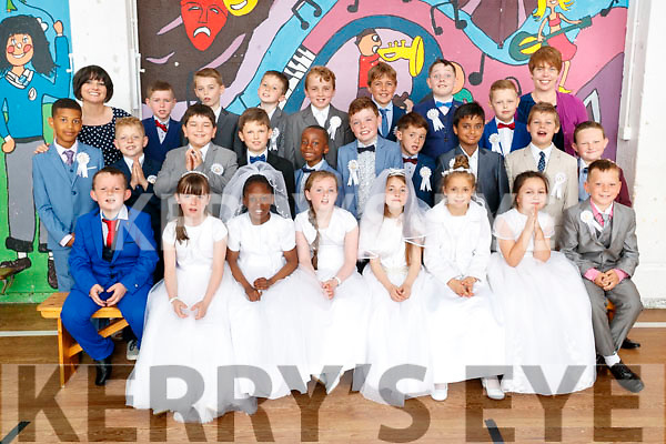 CBS Primary School First Communion class pictured at the school om Friday.<br /> Front row (L-R): James O'Brien, Lauren Brosnan, Keylee Oristejolomi, Kirsten Carey, Emily Rose McSweeney, Kalina Lemanska, Chanelle O'Brien, David Donovan.<br /> Middle row (L-R): Jonathan Agbaih, Milosz Waszkiewicz, Marco Vathaj, Dominik, Kapkowski, Ike Echeme, Ruairi McMahon, Adrian Molloy, Ricards Briedis, Luke McCarthy.<br /> Back row (L-R): Ms. Egan, Tyler Leen, Dermot Carey Phillipson, Dean Courtney, Ricco O'Driscoll, Daniel Curtain, Dylan Shanahan, Dominykas Perminas, Mrs. O'Regan.