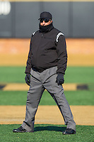 Umpire Darren Spagnardi tries to keep warm as he works the NCAA baseball game between the Marshall Thundering Herd and the Georgetown Hoyas at Wake Forest Baseball Park on February 15, 2014 in Winston-Salem, North Carolina.  The Thundering Herd defeated the Hoyas 5-1.  (Brian Westerholt/Four Seam Images)
