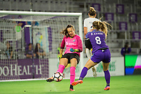 Orlando, FL - Saturday August 12, 2017: Kailen Sheridan, Danica Evans, Christie Pearce during a regular season National Women's Soccer League (NWSL) match between the Orlando Pride and Sky Blue FC at Orlando City Stadium.
