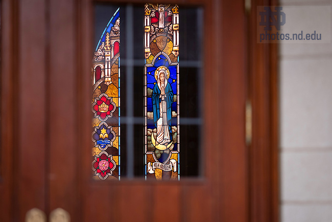 March 21, 2020; Stained glass window in the St. Thomas More Chapel in the Eck Hall of Law (Photo by Matt Cashore/University of Notre Dame)