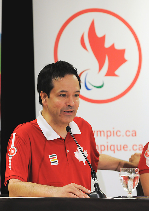 Toronto, ON - Aug 5 2015 - Marco Dispaltro is named as the opening ceremonies flag bearer for the Toronto 2015 Parapan American Games  (Photo: Matthew Murnaghan/Canadian Paralympic Committee)