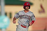 Clearwater Threshers Dalton Guthrie (46) running the bases during a Florida State League game against the Palm Beach Cardinals on August 10, 2019 at Roger Dean Chevrolet Stadium in Jupiter, Florida.  Clearwater defeated Palm Beach 11-4.  (Mike Janes/Four Seam Images)