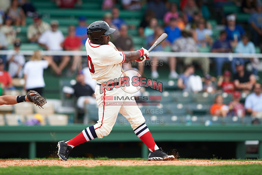 Birmingham Barons outfielder Courtney Hawkins (10) at bat during the 20th Annual Rickwood Classic Game against the Jacksonville Suns on May 27, 2015 at Rickwood Field in Birmingham, Alabama.  Jacksonville defeated Birmingham by the score of 8-2 at the countries oldest ballpark, Rickwood opened in 1910 and has been most notably the home of the Birmingham Barons of the Southern League and Birmingham Black Barons of the Negro League.  (Mike Janes/Four Seam Images)