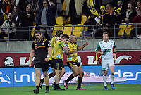 Ngani Laumape celebrates his try during the Super Rugby match between the Hurricanes and Chiefs at Westpac Stadium in Wellington, New Zealand on Friday, 13 April 2018. Photo: Dave Lintott / lintottphoto.co.nz