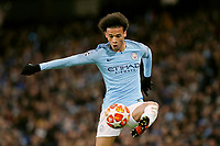 Manchester City's Leroy Sane controls<br /> <br /> Photographer Rich Linley/CameraSport<br /> <br /> UEFA Champions League Round of 16 Second Leg - Manchester City v FC Schalke 04 - Tuesday 12th March 2019 - The Etihad - Manchester<br />  <br /> World Copyright © 2018 CameraSport. All rights reserved. 43 Linden Ave. Countesthorpe. Leicester. England. LE8 5PG - Tel: +44 (0) 116 277 4147 - admin@camerasport.com - www.camerasport.com