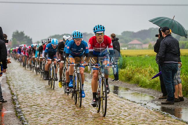 Bunch on the cobbles, Tour de France, Stage 5: Ypres > Arenberg Porte du Hainaut, UCI WorldTour, 2.UWT, Wallers, France, 9th July 2014, Photo by Thomas van Bracht / Peloton Photos