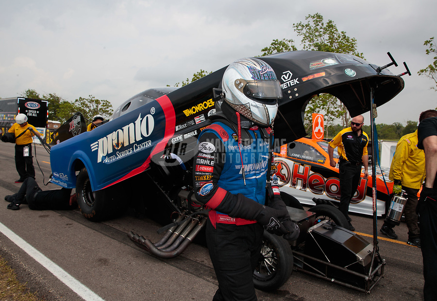Apr 13, 2019; Baytown, TX, USA; NHRA funny car driver Blake Alexander during qualifying for the Springnationals at Houston Raceway Park. Mandatory Credit: Mark J. Rebilas-USA TODAY Sports