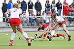 Mannheim, Germany, April 18: During the 1. Bundesliga Damen match between TSV Mannheim (white) and Mannheimer HC (red) on April 18, 2015 at TSV Mannheim in Mannheim, Germany. Final score 1-7 (1-4). (Photo by Dirk Markgraf / www.265-images.com) *** Local caption *** Vera Battenberg #64 of Mannheimer HC