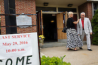"People leave after the last service at St. Frances Xavier Cabrini Church in Scituate, Mass., on Sun., May 29, 2016. Members of the congregation have been holding a vigil for more than 11 years after the Archdiocese of Boston ordered the parish closed in 2004. For 4234 days, at least one member of Friends of St. Frances X. Cabrini has been at the church at all times, preventing the closure of the church. May 29, 2016, was the last service held at the church after members finally agreed to leave the building after the US Supreme Court decided not to hear their appeal to earlier an Massachusetts court ruling stating that they must leave. The last service was called a ""transitional mass"" and was the first sanctioned mass performed at the church since the vigil began."