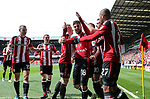 Sheffield United's Kieron Freeman celebrates scoring his sides opening goal during the League One match at Bramall Lane, Sheffield. Picture date: April 30th, 2017. Pic David Klein/Sportimage
