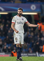 Thiago Motta of Paris Saint-Germain punches the air on the final whistle during the UEFA Champions League Round of 16 2nd leg match between Chelsea and PSG at Stamford Bridge, London, England on 9 March 2016. Photo by Andy Rowland.