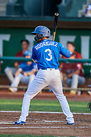 Ramon Rodriguez (3) of the Ogden Raptors bats during a game against the Idaho Falls Chukars at Lindquist Field on August 29, 2018 in Ogden, Utah. Idaho Falls defeated Ogden 15-6. (Stephen Smith/Four Seam Images)