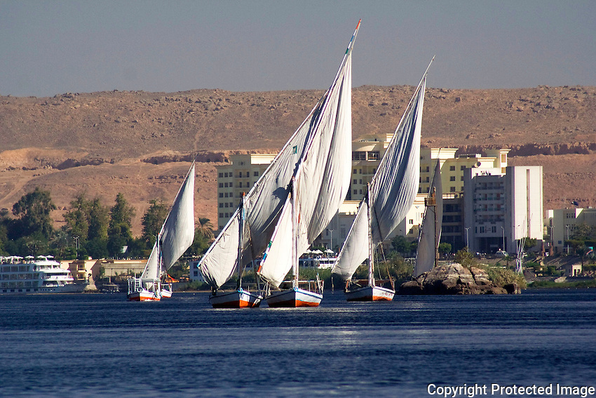Dhows on the Nile River at Aswan, Nubia, Egypt
