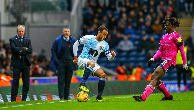 Blackburn Rovers' Elliott Bennett takes on Queens Park Rangers' Eberechi Eze<br /> <br /> Photographer Alex Dodd/CameraSport<br /> <br /> The EFL Sky Bet Championship - Blackburn Rovers v Queens Park Rangers - Saturday 3rd November 2018 - Ewood Park - Blackburn<br /> <br /> World Copyright © 2018 CameraSport. All rights reserved. 43 Linden Ave. Countesthorpe. Leicester. England. LE8 5PG - Tel: +44 (0) 116 277 4147 - admin@camerasport.com - www.camerasport.com