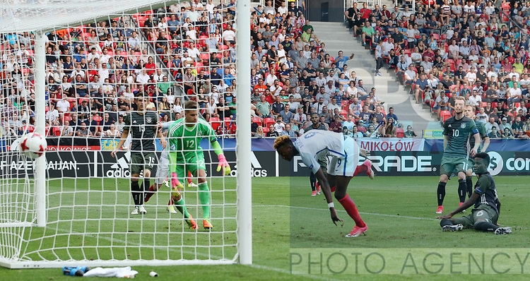 England's Tammy Abraham scoring his sides second goal during the UEFA Under 21 Semi Final at the Stadion Miejski Tychy in Tychy. Picture date 27th June 2017. Picture credit should read: David Klein/Sportimage