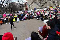 Washington, DC - February 11, 2017: Deyanira Aldana, an undocumented immigrant and national organizer for United We Dream, speaks to people assembled near the White House in Washington February 11, 2017 for a protest against the latest immigration raids and deportations by U.S. Immigration and Customs Enforcement agents.  (Photo by Don Baxter/Media Images International)