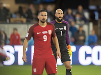 San Jose, Ca - Friday March 24, 2017: Sebastian Lletget Tim Howard during the USA Men's National Team defeat of Honduras 6-0 during their 2018 FIFA World Cup Qualifying Hexagonal match at Avaya Stadium.