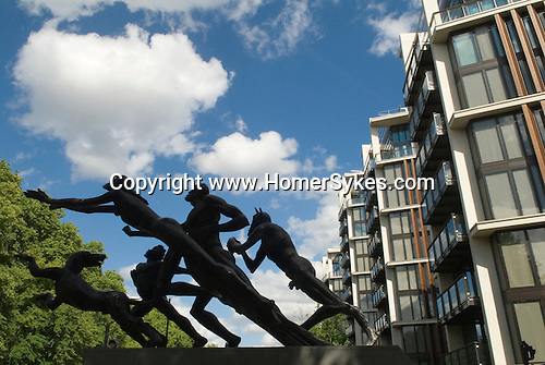 One Hyde Park Knightsbridge London. Sculpture by Sir Jacob Epstein know as the Edinburgh Gate sculpture called The Rush of Green