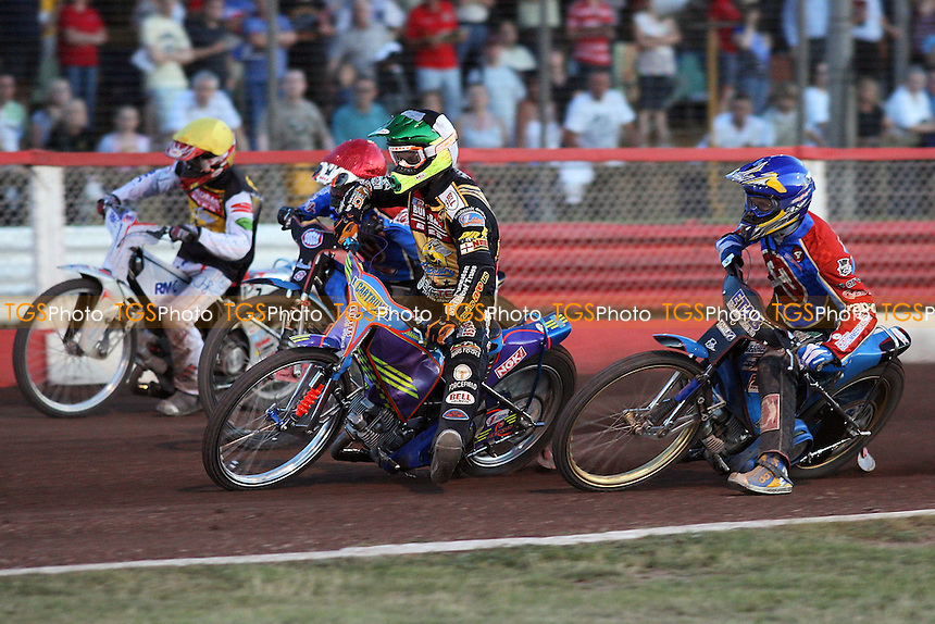 Heat 9: Schlein (tactical ride), Shields (red), Davidsson (blue), Auty - Lakeside Hammers vs Coventry Bees - Sky Sports Elite League at Arena Essex, Purfleet- 30/07/08 - MANDATORY CREDIT: Gavin Ellis/TGSPHOTO - Self billing applies where appropriate - Tel: 0845 094 6026.