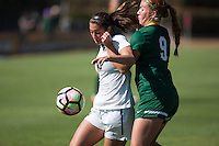 BERKELEY, CA - Sept 16th, 2016: Cal's (10) Arielle Ship fights off USF's (9) Valerie Santana.  Cal Women's Soccer played the University of San Francisco on Goldman Field at Edwards Stadium.
