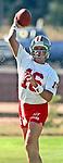 San Francisco 49ers training camp July 26, 1990 at Sierra College, Rocklin, California.  San Francisco 49ers quarterback Joe Montana (16).
