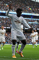 Picture: Andrew Roe/AHPIX LTD, Football, Barclays Premier League, Manchester City v Swansea City, 22/11/14, Etihad Stadium, K.O 3pm<br /> <br /> Swansea's Wilfred Bony celebrates his goal<br /> <br /> Andrew Roe>>>>>>>07826527594