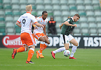 Plymouth Argyle's Joe Riley under pressure from Blackpool's Nathan Delfouneso and Mark Cullen<br /> <br /> Photographer Kevin Barnes/CameraSport<br /> <br /> The EFL Sky Bet League One - Plymouth Argyle v Blackpool - Saturday 15th September 2018 - Home Park - Plymouth<br /> <br /> World Copyright &copy; 2018 CameraSport. All rights reserved. 43 Linden Ave. Countesthorpe. Leicester. England. LE8 5PG - Tel: +44 (0) 116 277 4147 - admin@camerasport.com - www.camerasport.com