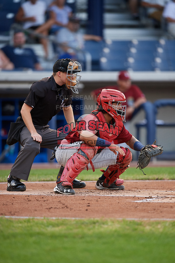Mahoning Valley Scrappers catcher Jason Rodriguez (9) waits to receive a pitch in front of home plate umpire Kevin Mandzuk during a game against the Williamsport Crosscutters on August 28, 2018 at BB&T Ballpark in Williamsport, Pennsylvania.  Williamsport defeated Mahoning Valley 8-0.  (Mike Janes/Four Seam Images)