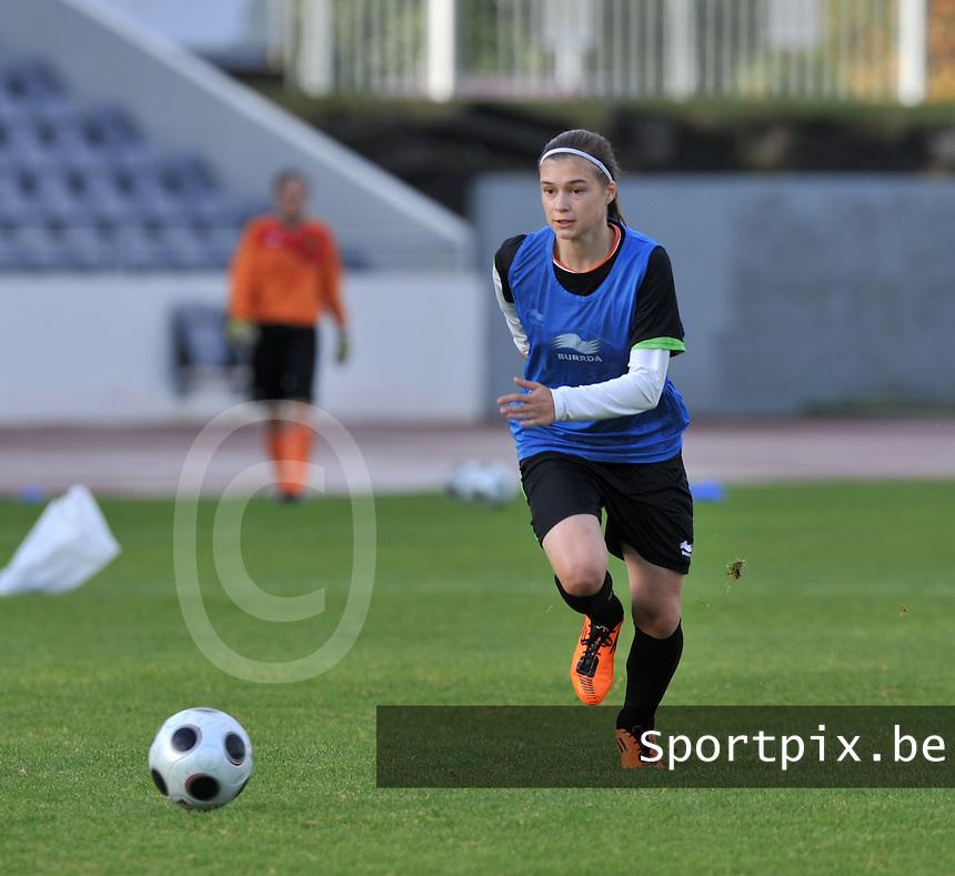 Iceland : UEFA Women's Euro Qualifying group stage (Group 3) - 21/09/2011 - 21:30CET (19:30 local time) - Laugardalsvöllur - Reykjavik : ICELAND (ijsland) - BELGIUM ( Belgie) : Anaelle Wiard..foto DAVID CATRY / Vrouwenteam.be