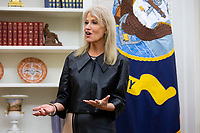 Counselor to the president Kellyanne Conway speaks at the signing ceremony for 'the Women's Suffrage Centennial Commemorative Coin Act', in the Oval Office of the White House in Washington, DC, USA, 25 November 2019. Trump signed 'H.R. 2423, the Women's Suffrage Centennial Commemorative Coin Act' - a bill directing the US Treasury to mint and issue up to four hundred thousand one-dollar silver coins honoring women that played a role in gathering support for the 19th Amendment.<br /> Credit: Michael Reynolds / Pool via CNP/AdMedia