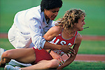 Mary Decker falls during the 3000m. final of the 1984  Olympics, after colliding with Zola Budd. Los Angeles, California...1984 © David BURNETT (CONTACT PRESS IMAGES)