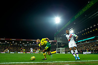 1st January 2020; Carrow Road, Norwich, Norfolk, England, English Premier League Football, Norwich versus Crystal Palace; Onel Hernandez of Norwich City takes on Jordan Ayew of Crystal Palace - Strictly Editorial Use Only. No use with unauthorized audio, video, data, fixture lists, club/league logos or 'live' services. Online in-match use limited to 120 images, no video emulation. No use in betting, games or single club/league/player publications