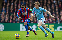 Kevin De Bruyne of Manchester City moves from Jairo Riedewald of Crystal Palace  during the Premier League match between Crystal Palace and Manchester City at Selhurst Park, London, England on 31 December 2017. Photo by Andy Rowland.