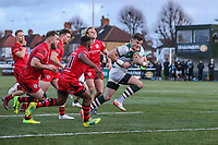 Peter LYDON of Ealing Trailfinders breaks free to score the winning try during the Greene King IPA Championship match between Ealing Trailfinders and Jersey Reds at Castle Bar , West Ealing , England  on 22 December 2018. Photo by David Horn.