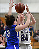 Gillian Kenah #24 of Port Jefferson, right, shoots from short range during the NYSPHSAA varsity girls basketball Class C Southeast Regional Final against Haldane at SUNY Old Westbury on Thursday, March 9, 2017. She scored 10 points in the Lady Royals' 43-30 win.