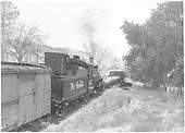 K-28 #473 switching cars picked up at Embudo.<br /> D&amp;RGW  Embudo, NM  Taken by Richardson, Robert W. - 7/3/1941
