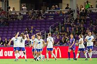 Orlando, FL - Saturday September 02, 2017: Boston Breakers celebrate a goal during a regular season National Women's Soccer League (NWSL) match between the Orlando Pride and the Boston Breakers at Orlando City Stadium.