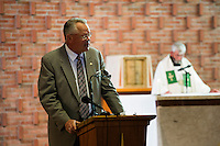 "Jon Rogers, of Scituate, addresses the congregation during the last service at St. Frances Xavier Cabrini Church in Scituate, Mass., on Sun., May 29, 2016. Rogers serves as spokesperson for the group. Members of the congregation have been holding a vigil for more than 11 years after the Archdiocese of Boston ordered the parish closed in 2004. For 4234 days, at least one member of Friends of St. Frances X. Cabrini has been at the church at all times, preventing the closure of the church. May 29, 2016, was the last service held at the church after members finally agreed to leave the building after the US Supreme Court decided not to hear their appeal to earlier an Massachusetts court ruling stating that they must leave. The last service was called a ""transitional mass"" and was the first sanctioned mass performed at the church since the vigil began."