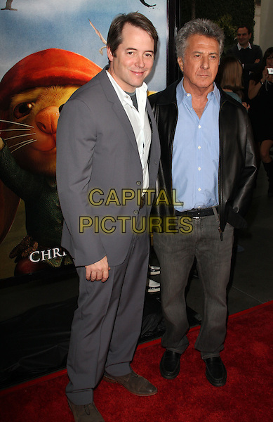 """MATTHEW BRODERICK & DUSTIN HOFFMAN.""""The Tale Of Despereaux"""" World Premiere held at the Arclight Hollywood Cinemas, Hollywood, California, USA..December 7th, 2008.full length grey gray suit white shirt blue jeans denim black jacket leather.CAP/ADM/KB.©Kevan Brooks/AdMedia/Capital Pictures."""