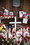 Mementos placed on the memorial at Anfield to the 1989 Hillsborough stadium disaster where 96 Liverpool football fans lost their lives. Mourners and well-wishers have been leaving flowers, scarves and wreaths after the publication of a report the previous week by the Hillsborough Independent Panel which released new information about the tragedy. The Hillsborough Justice Campaign had been campaigning for a new inquest into the disaster for the last 23 years. Photo by Colin McPherson.