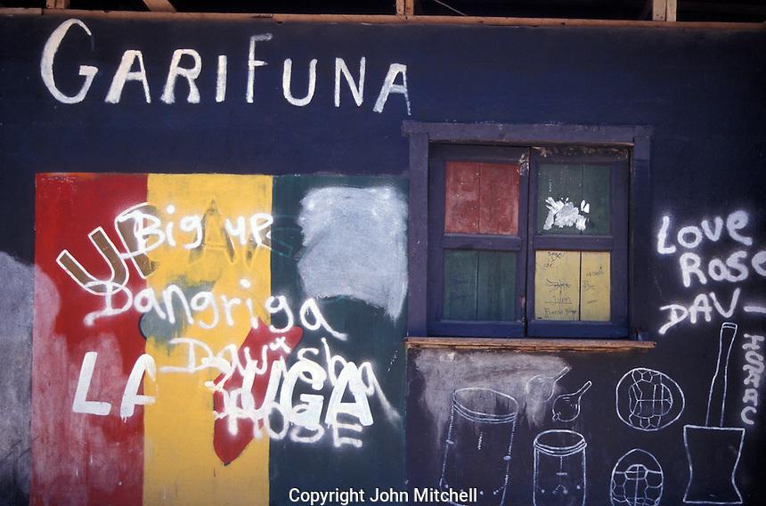 Garifuna graffiti on a wall in the town of Livingston on the Caribbean coast of Guatemala