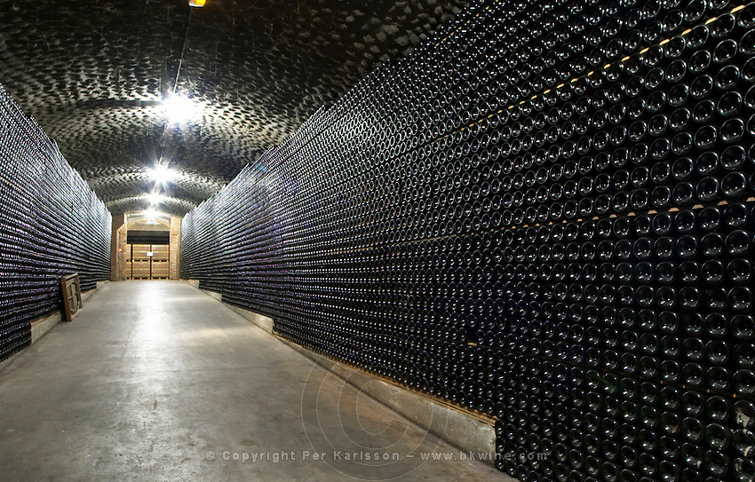 Bottles aging in the cellar. Vallformosa, Vilobi, Penedes, Catalonia, Spain
